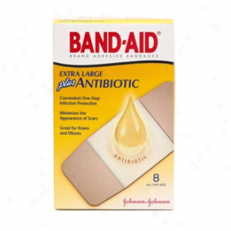 Band-ad Plus Antibiotic Adhesive Bandages Plus Antibiotic, Extra Large