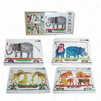 Bepuzzled Eric Carle 4 In 1 Wooden Jigsaw Puzzles Ages 3+