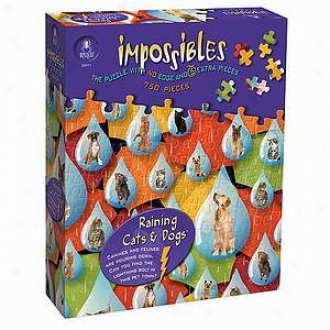 Bepuzzled Raining Cats And Dogs Impossibles Puzzle 750 Pc Ages 10+