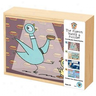 Bepuzzled The Pigeon Wants A Puzzle!-4 In 1 Wooden Jigsaw Puzzles Ages 3+