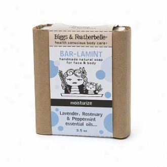 Biggs & Featherbelle Bar-lamint, Handmade Natural Rail Sowp For Face & Body, Moisturize:  Lavender, Rosemary & Peppermint