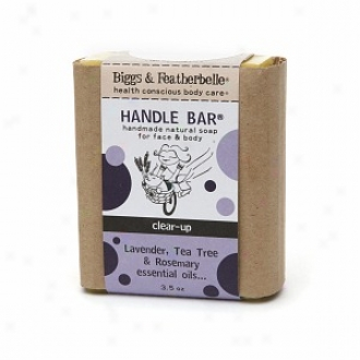 Biggs & Featherbelle Handle Bar, Handmade Natural Bar Soap For Face & Body, Clear Up:  Lavender, Tea Tree & Rosemary