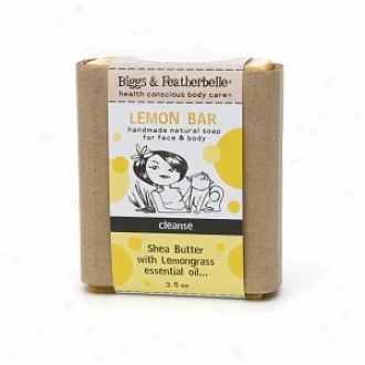 Biggs &zmp; Featherbelle Lemon Bar, Handmade Natural Obstacle Soap Concerning Face & Body, Cleanse:  Shea Butter & Lemongrass