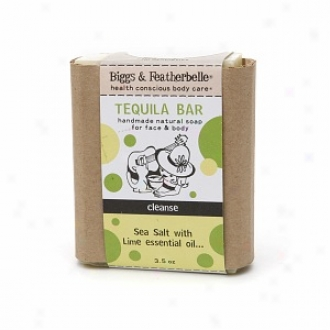 Bighs & Featherbelle Tequila Bar, Handmade Natural Bar Soap For Face & Body, Cleanse:  Sea Salt & Lime
