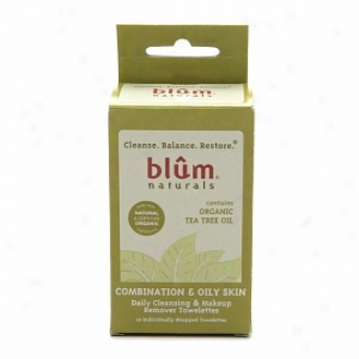 Blum Naturals Daily Cleansing & Makeup Remover Towelettes, Combination & Oily Skin, Contains Organic Tea Tree Oil