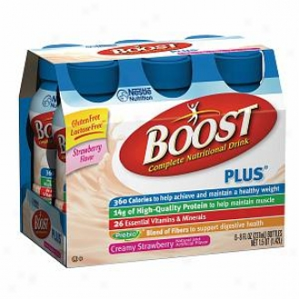 Boost Plus Complete Nutritional Drink, Bottles, Creamy Strawberry