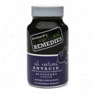 Braiard's Natural Remedies All Natural Antacid Chewable Tablets, Blueberry