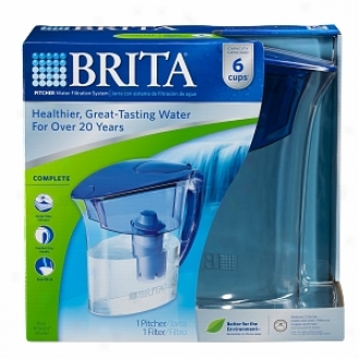 Brita Pitcher Water Filtration System, Atlantis Model, 6 Cups, Blue/clear