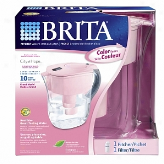 Brita Pitcher Water Filtration System, Grand Model, 10 Cups, Pink