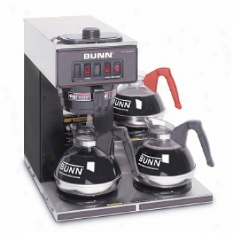 Bunn Vp17-3 12-cup Pourover Commercial Coffee Brewer W/3 Lower Warmers, Stainless