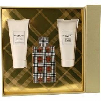 Burberry Brit Eau De Parfum Spray 3.3oz, Body Lotion 3.4oz, Body Wash 3.4oz