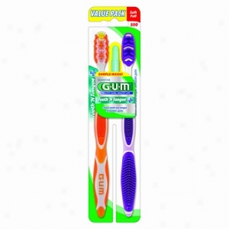 Butler Tooth & Tongue Plus, Soft Toothbrush, Value Pack