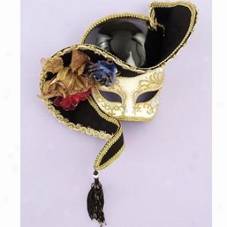 Buyseasons Costumes Mask, Venetian Half White With Black Hat, One-size