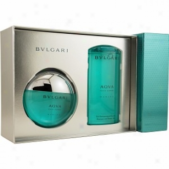 Bvlgari Aqua Marine Eau De Toilet Spray 3.4oz, Shampoo And Shower Gel 6.7oz