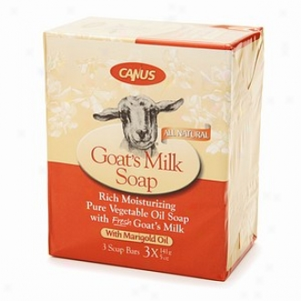 Canus Goat's Milk Rich Moisturizing Pure Vegetable Oil Soap, With Maarigold Oil