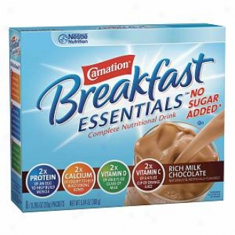Carnation Breakfast Essentials Fulfil Nutritional Drink, No Sugar Added, Packets, Rich Milk Chocolate