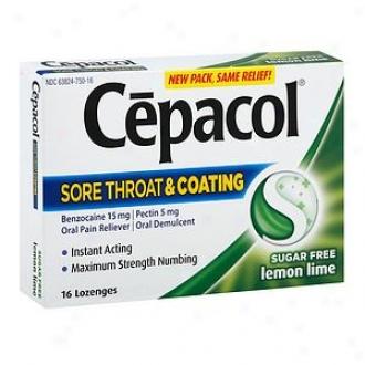 Cepacol Sugar Free Sore Throat + Coating Oral Pain Reliever Lozenges, Lemon Lime