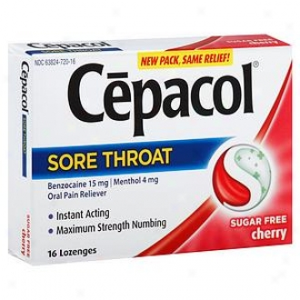 Cepacol Sugar Gratuitous Sore Throat Spoken Pain Reliever Lozenges, Cherry