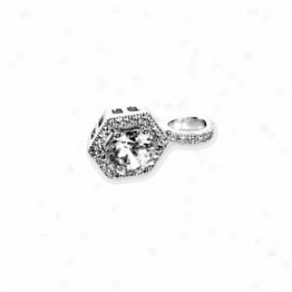 Chandi Court Sterling Silver Solitaire Styllee Pendant With Cz