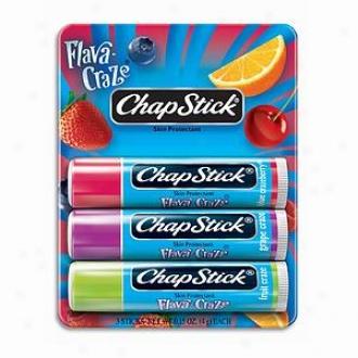 Chapstick Flava-craze Classic Lip Balm, Triple Pack, Spf 4, Flava-craze