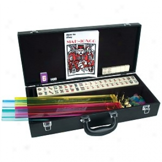 ChhW estern Mah Jong Set In Black Leatherette Case