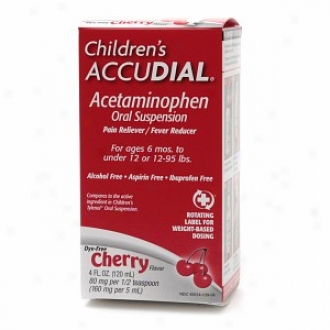 Children's Accudial Torment Reliever/fever Reducer Acetaminophen Oral Suspeension, Dye Free Chwrry