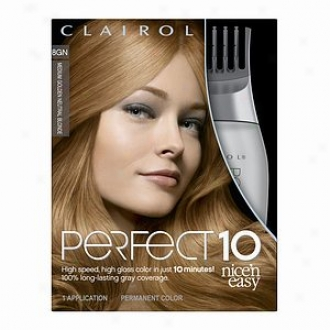 Clairol Delicate 'n Easy Perfect 10 Permanent Haircolor, Medium G0lden Neutral Blonde 8gn