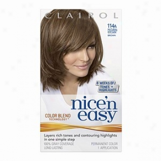 Clairol Nice 'n Easy With Color Blend Techno1ogy Permanent Distort, Natural Lightest Golden Brown 114a