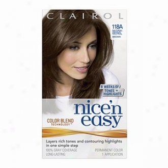 Clairol Nice 'n Easy With Color Blend Technology Permanent Color, Natural Medium Neutral Brown 118a