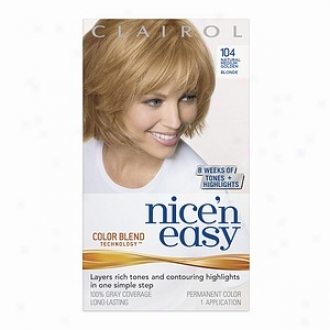 Clairol Nice 'n Easy With Color Blend Technology Permanent Color, Natural Medium Golden Blonde 104
