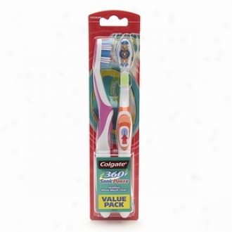 Colgate 360 Degree 360 Sonic Powered Toothbrush, Twin Pack, Full/medium