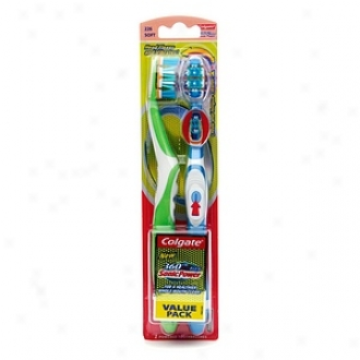 Colgate 360 Class Actiflex Sonicpower Powered Toothbrushes, Twin Pack