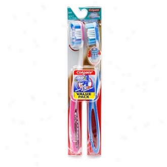 Cllgate 360 Degree Surtound Toothbrush, Twin Pack, Impressible Abounding Head