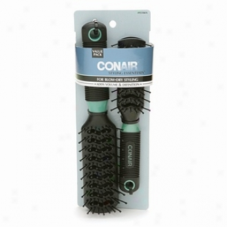 Conair Brush Styling Essentials Full-size Abd Mid-size Vent Brush Sett, For Blow-dry Styling