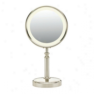 Conair Double Sided Flourescent Mirror, Satin Nickel Finish