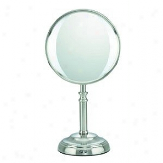 Conqir Led Lighted Double-sided Mirror; 1x/10x Magnification, Model Be10108, Satin Nickel