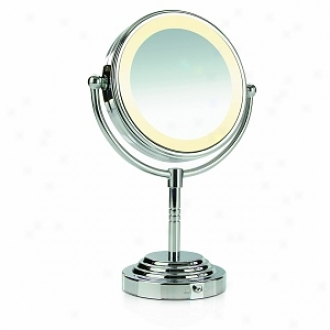 Conair Round Double Sided Lighted Makeup Mirror, Polished Chrome