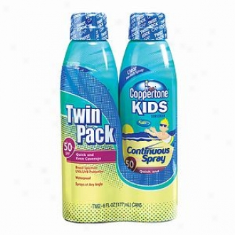 Coppertone Kids Sunscreen, Clear Continuous Spray, Twin Pack, Spf 50