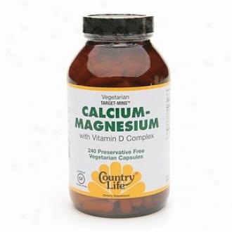 Country Life Calcium-magnesium With Vitamin D Complex, Gluten Free Vegetarian Capsules
