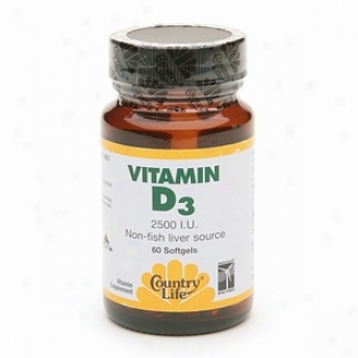 Country Life Vitamin D3 2500 I.u. Non-fish Liver Cause Softgels