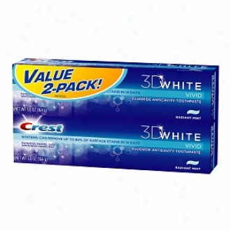 Crest 3d White Vivid Fluoride Anticavity Toothpaste, Value Pack, Radiant Mint