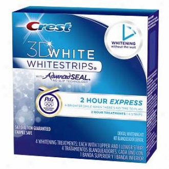 Crest 3d White Whitestrips, 2 Hour Express Whitestrips Dental Whitening Kit