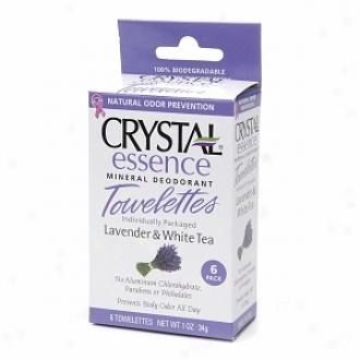 Crystal Essence Mineral Deodorant Towelettes, Lavender & White Tea