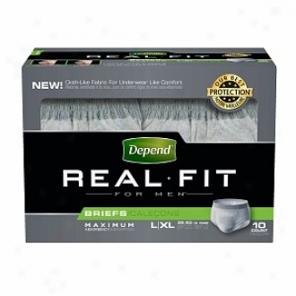 Depend Real Fit Underwear For Men Maximum Absorbency, L/xl - 10 Pack