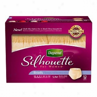 Depend Silhouette For Women Underwear, Maximum Absorbency, S/m - 12 Pack