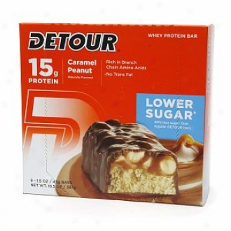 Detkur Lower Sugar 15g Whey Protein Bar, Caramel Peanut