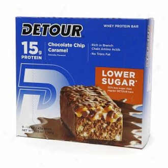 Detour Lower Sugar 15g Whey Protein Bar, Chocolate Chip Caramel
