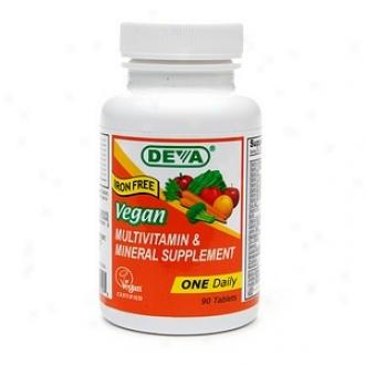 Deva Vegan Vitamins Multivvitamin & Mineral Supplement, Iron Free, Tablets