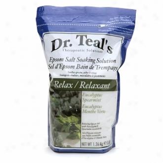 Dr. Teal's Epsom Salt Soaking Solution, Relax, Eucalyptus, Spearmint