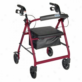 Drive Medical Alumin8m Rollator Fold Up, Removable Back Support, Pae Seat, 6  Casters Red